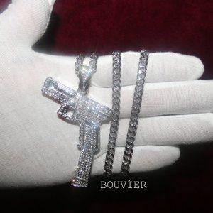 White Gold Diamond Extended Pistol Pendant Chain